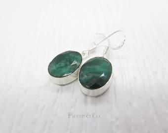25 carats Raw Cut Emerald Sterling Silver Earrings