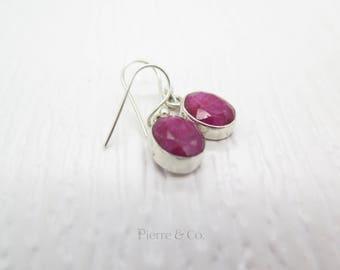 10 Carats Oval  Shape Ruby Sterling Silver Dangle Earrings