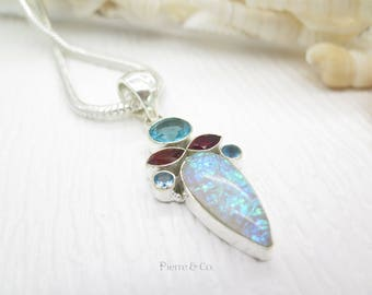 Blue Topaz Dichroic Glass Garnet Sterling Silver Pendant and Chain