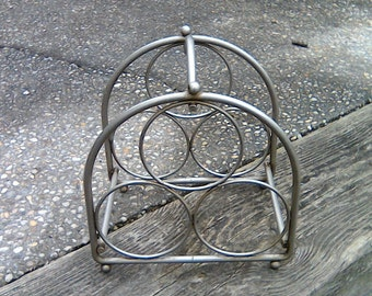 Vintage Metal Wine Rack Silver Wine Holder Rack Wine Rack 3 Bottle Holder Industrial Chic Farmhouse Decor Mother's Day Gift 70s Mid Century