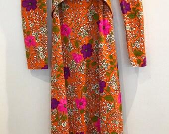 Vintage 70s Barkcloth Floral Maxi Dress