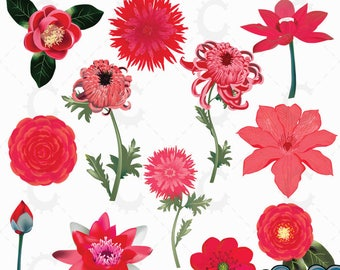 Red Japanese Flower Clipart Collection
