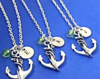 Best Friend Necklaces - set of 3, Anchor Necklace, Anchor Charm, Nautical Necklace, Personalized, Initial, Custom, Friendship,3 best friends