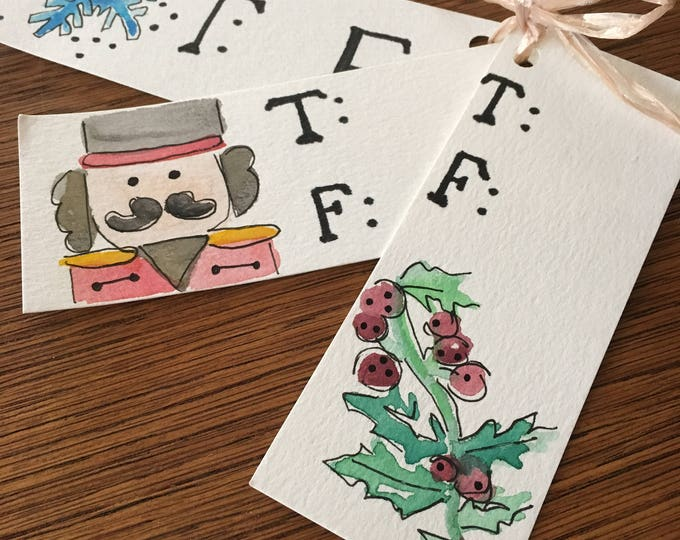 Hand Painted Gift Tags 5x2', Watercolor Snowflake, Nutcracker, Holly, X-Mas Secret Santa Gift, Wrapping Needs (12 ct for 10)