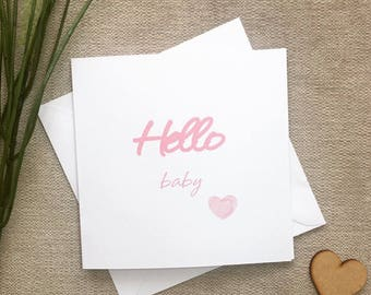 New Baby Girl Card, Hello Baby Card, New Baby Card, Card for New Baby Pink