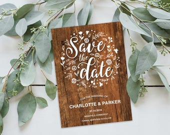 Save the Date Invitation Template   Editable Invitation Printable   Save the Date Invite Woodgrain, Rustic   No. EDN 5497