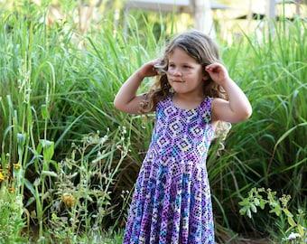 Girls Geometric Purple Dress, Girls Dress, Girls Maxi Dress, Girls Clothes, Toddler Dress,  Summer Dress