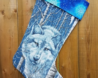 Wolf Collage Quilted Christmas Stocking
