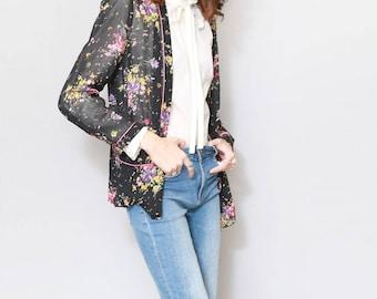 Vintage 1980's Marylet Sheer Floral Pyjama Jacket