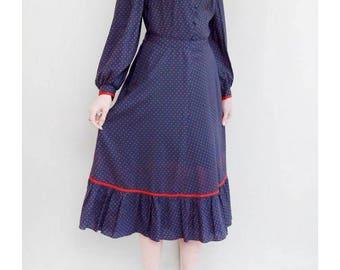 Vintage 1970's Blue & Red Spot Folk Midi Dress