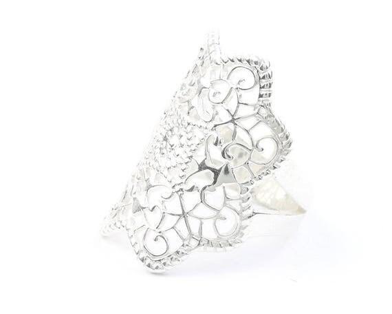 Mandala Ring, Sterling Silver Ring, Filigree Ring, Statement Piece, Festival,Gypsy, Boho
