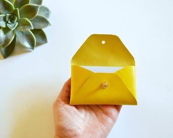 Yellow leather card holder / Yellow envelope card holder / Yellow leather business card case / Genuine leather