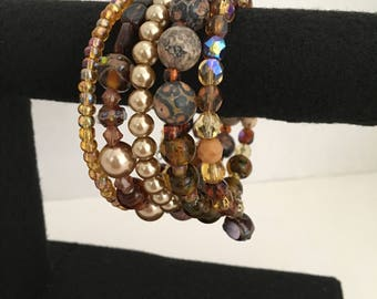 Amber Goldie Jasper Memory Wire Bracelet