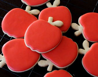 Apple Shaped Red Cookies,Back To School,Red Cookies,Fruit Cookies,Fall Cookies
