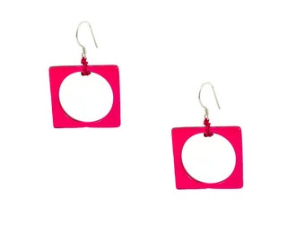 Colorful, Fused Glass Square and Circle Earrings. Modern, Glass, Geometric Earrings. Gifts for her, Bright Colors, Summer Earrings,