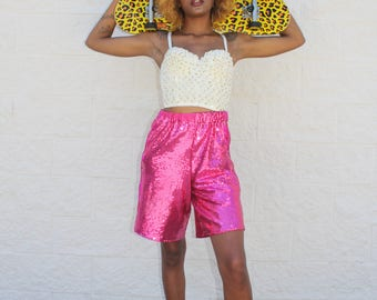 sequin embellished basketball shorts