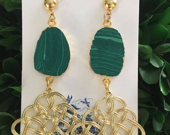 GOLD and GREEN Knot Earrings | lightweight, gold, malachite, post earrings, statement earrings, Designs by Laurel Leigh, emerald green