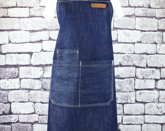 CHEF BBQ Blue Denim Apron| BBQ Apron| Barista Apron| Kitchen Apron | Apron for Men| Apron for Women| Jeans Apron For Cafe- U3009