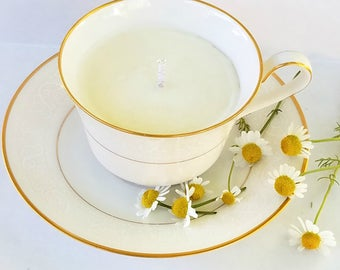 Cream Gold Vintage Tea Cup Candle | Scented | Soy Candle | Hand Poured | Natural | Vegan Soy | Tea Cup With Saucer