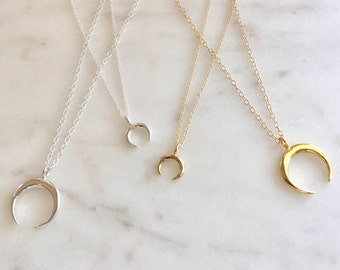 Moon Necklace Gold Horn Necklace Graduation Gift Sterling Silver Tribal Necklace Boho Necklace Crescent Moon Necklace  Double Horn