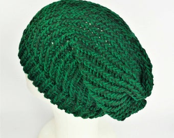 Summer knit hat, slouchy beanie, boho slouch hat, green slouch hat, vegan slouch hat, slouchy hat woman, hat for dreads, bohemian beanie