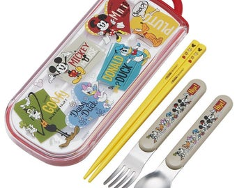 Disney Mickey Mouse and Friends - Kids Chopstick Spoon and Fork Set  箸 By Skater
