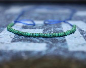 Mens Bracelet Green- Cool Mens Beaded Bracelet, Wish Bracelet, Mens Bracelet Beaded - Blue String