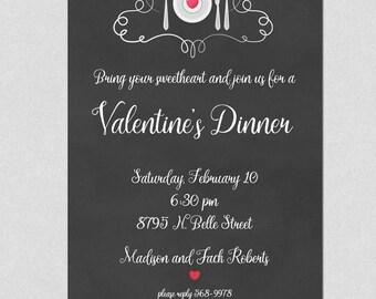 Valentine Party Invitation, Printable Valentine Party Invitation, Valentine Dinner Invitation, Heart Invitation, Printable invitation