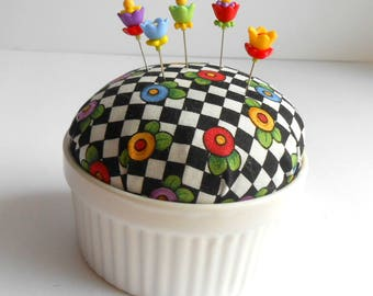 Pincushion - Mary Engelbreit Fabric Pincushion - Gift for Quilters - Decorative Pins - PinKeep - Quilting - Sewing Pins - Cherry Chick