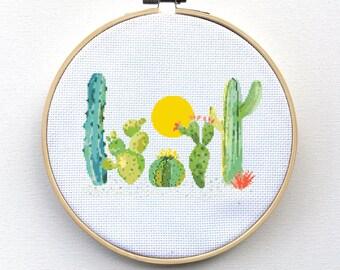 Cross Stitch Pattern, Modern Cross Stitch Kit, Cactus Cross Stitch Pattern Kit, Modern Cross-Stitch Pattern, Succulent Cactus