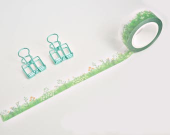 Green Spring Blooms Japanese Washi Tape, Masking Tape, Scrapbooking Stickers, Planner Stickers - WT329