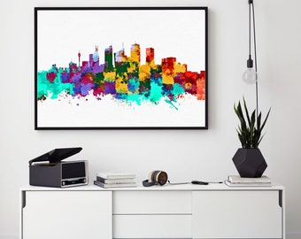 Sydney Skyline Print, Sydney Painting, Sydney Art, Sydney Wall Decor, Watercolor Sydney, Australian Art, Sydney Theme (N167)