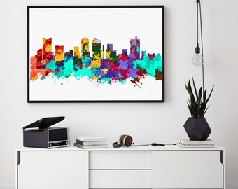 Fort Worth Skyline Art, Fort Worth Print, Fort Worth Painting, Fort Worth Poster, Colorful Fort Worth, Texas Wall Art (N1003)