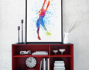 Netball Art, Netball Print, Netball Player, Watercolour Sport Prints, Sports Decor, Netball Wall Art, Kids Room, Netball Team (N067)