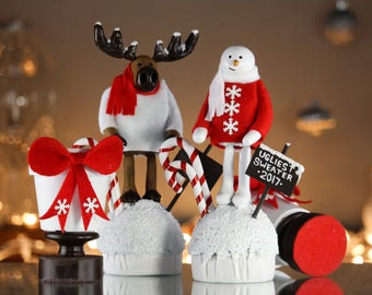 Winter Trophy - Ugly Sweater Party Decor - Christmas Decoration - Holiday Snowman & Moose Trophies - Seasonal Centerpiece - Cute Snow Gift