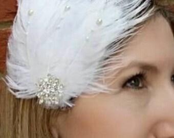 Wedding Feather Headband,Bridesmaid, Flower Girl,Gatsby,Vintage,Christening, Child,Adult,Ostrich,Art Deco,Uk