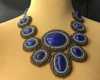 lapis lazuli embroidered bib necklace beads