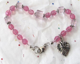 Valentine Jewelry, Pink & Silver Beaded Bracelet, Silverplated Heart Shaped Leaf Charm Bracelet, Bracelets For Larger Wrists