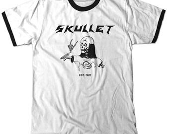 Skullet Ringer t-shirt White and black tee skull with mullet hair funny Unisex shirt