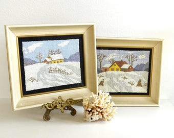 vintage set pair of winter snow cabin scene needlepoint pictures framed winter needlepoints crewel art