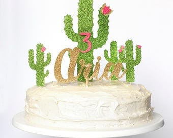 Cactus themed birthday cake topper. Custom name and age. Girl, boy. First Birthday Party. Party decorations. Second. Third. Ten. 18th. 30th.