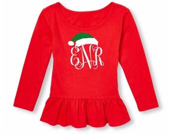 Monogram Christmas Shirt-Girl Monogram Christmas Tees-Baby Toddler Kid's Christmas Monogram Shirt-Christmas Shirt-Santa Shirt-Monogram Santa