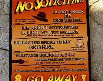Indiana Jones No Soliciting Sign