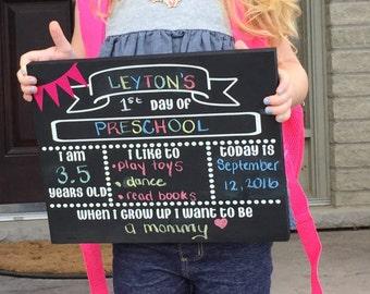 """FIRST DAY CHALKBOARD- """"I Like""""-School Chalkboard Reusable School Stats Chalkboard First and Last Day of School Sign Chalkboard for Pics"""