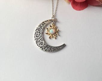 Sun and Moon Necklace. Silver Necklace.