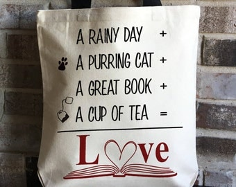 Book Lover - Tea Lover Gift - Cat Gift - Mother's Day Gift Mom - Librarian Gift - Cat Lady - Large Canvas Tote - Eco Friendly Shopping Bag