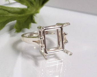 Sterling Silver Cathedral Shank Emerald Cut Ring (10x8mm-20x15mm). 163-479