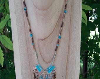 Bohemian style turquoise and silver necklace