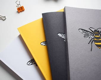 A5 Bee Notebook, plain pages, bullet journal, plain diary, worker bee, notepad, sketchbook, Mother's day present, gift for him, gift for her