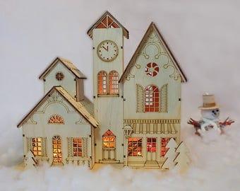 Souvenir house in European style, wooden miniature, home decor, laser cut, wooden item